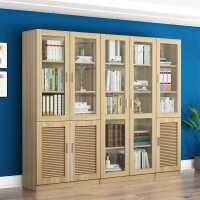 书柜带玻璃门落地书架现代简约客厅多功能柜子储物柜自由组合书橱