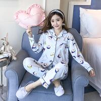 睡衣女秋冬季韩版小清新甜美可爱长袖开衫家居服宽松全棉套装