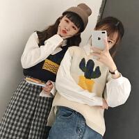 2018春装新款韩版小清新可爱百搭套头无袖针织马甲女学生上衣马夹