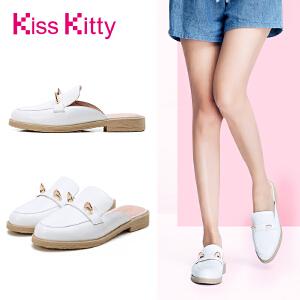 KissKitty奇思凯蒂2017新款穆勒拖金属猫耳平底夏季拖鞋外穿女