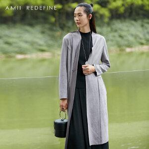 [AMII东方极简] JII[东方极简]秋装女2017新款宽松大码仿鹿绒磨砂风衣外套百搭上衣