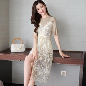 风轩衣度 2018年夏季新款套装/套裙中长款韩版气质短袖舒适蕾丝短袖修身显瘦2133-8907