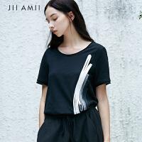 JII AMII原创女装纯棉拼接韩版宽松百搭休闲短袖t恤2018夏款上衣