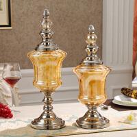 欧式家居装饰品玻璃花瓶样板房软装摆件美式客厅餐桌干花插花套装