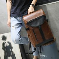 0530023833361疯马皮潮流双肩包男休闲旅行大容量男士背包学生书包韩版复古 咖啡色