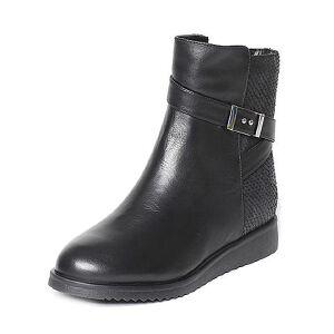 Tata/他她冬黑色牛皮时尚皮带扣坡跟短靴女休闲靴2N948DD6