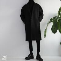 冬季中长款男装风衣男青年休闲毛呢料宽松冬季韩版呢子大衣外套潮