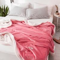 秋冬季羊羔绒毛毯被子加厚保暖珊瑚绒毯子纯色法兰绒午睡小盖腿毯