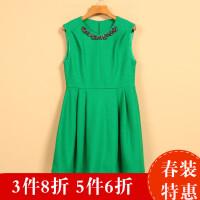 【秋二波】新款春8F1517韩范时尚收腰无袖镶钻连衣裙