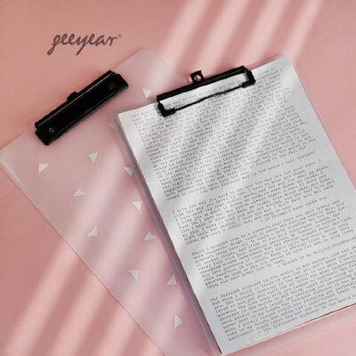 锦一文具 A4几何文件夹板夹 创意多功能文件夹写字垫板 试卷档案资料夹 多功能简约学生用半透明板夹 半透明几何点缀
