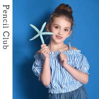 【3件2折:34】铅笔俱乐部童装2020夏装新款女童短袖衬衫露肩亲子装儿童条纹衬衫