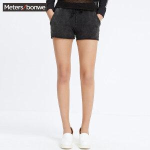 【领券即享100元任选4件】美特斯邦威裤子女夏季女时尚摇滚简约直筒短裤搬
