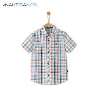 诺帝卡童装 男童夏季短袖衬衫儿童格子衬衫新品