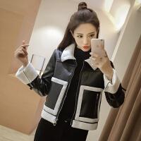 春装新款韩版时尚拼接皮衣短外套宽松加厚羊羔毛短款外套女潮