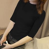 黑色打底衫女长袖秋冬纯棉修身上衣服半高领T恤女士紧身秋衣 中袖 黑色