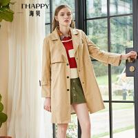 2018秋季女装英伦风西装领长袖字母绣花单排扣卡其中长款风衣外套