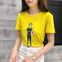 短袖T恤女韩版印花小女孩拎包体恤衫2018夏季学生百搭打底衫