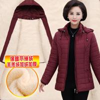 中老年女装加绒加厚棉衣妈妈装冬装棉袄中年女冬大码连帽外套