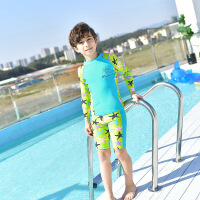 韩国新款儿童泳衣男童分体加大码长袖沙滩防晒宝宝男孩速干泳装