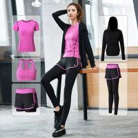 女款运动服健身套装女专业健身房晨跑步服速干衣 新款瑜伽服运动套装女五件套