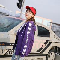 嘻哈风外套女春秋韩版学生宽松bf字母印花休闲长袖夹克棒球服qg