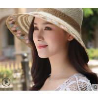 新品时尚防紫外线出游花帽檐纸草帽女可折叠透气遮阳帽