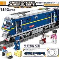 �犯呋�木电动轨道火车玩具城市系列和谐号天际拼装高铁男孩