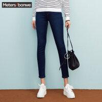 美特斯邦威冬装新款牛仔裤女打底裤加绒铅笔裤显瘦潮商场款R
