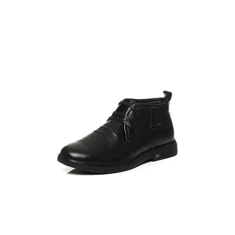 Belle/百丽冬季专柜同款黑牛皮革男休闲靴(绒里)4PM01DD6