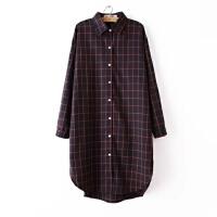 女装秋装新款宽松翻领格子排扣中长款长袖衬衫女衬衣