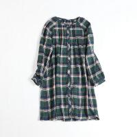 日单秋冬女中长款格子衬衫 长袖圆领娃娃衫打底衬衫裙纯棉op42X