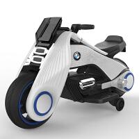 儿童电动摩托车三轮车男女宝宝可坐人小孩玩具车大号电瓶童车HMTC 白色 两轮+辅助轮