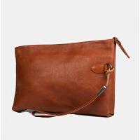 处理 牛爷 手拿包男士手包手机包男真皮软大容量信封包钱包 棕色 少许复古擦色