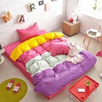 微笑家纺床上用品全棉纯棉时尚四拼四件套寝室床单被套枕头