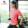 camel骆驼女运动T恤夏休闲跑步健身速干衣打底套头衫透气圆领短袖上衣