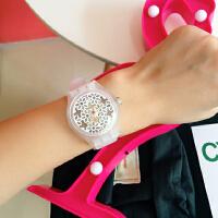 韩国原宿风软妹腕表简约白色透明镂空花朵女中学生手表硅胶石英表