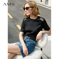 【限时秒杀价78元】Amii极简气质韩版雪纺拼蕾丝T恤2019夏新款圆领直筒纯色短袖上衣