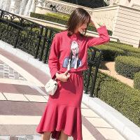 2019新款女装春季法国小众针织连衣裙女秋冬过膝卫衣鱼尾裙子套装 红色