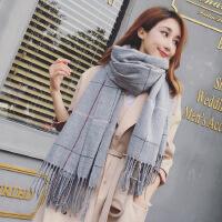 2017秋冬新款韩版大格子围巾男女士情侣双面流苏格子围巾披肩