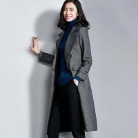 【限时秒杀198元】羊毛呢大衣女中长款2018冬新款时尚人字纹过膝毛呢