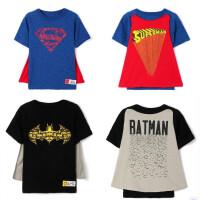 男女童夏季短袖T恤宝宝纯棉上衣卡通休闲蓝色超人黑色蝙蝠侠披风