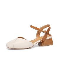骆驼女鞋 夏季新款 时尚优雅奶奶鞋女包头方跟搭扣方头凉鞋女