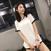 速干T恤宽松透气显瘦健身服跑步罩衫运动上衣女夏瑜伽短袖