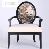 ZUCZUG新中式酒店餐厅餐椅 客厅靠背休闲椅电脑椅 现代实木洽谈椅子家具 椅子 颜色/布样