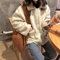 羊羔毛外套女秋冬韩国chic加厚拼色宽松纯色中长款机车夹棉上衣潮