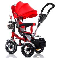 儿童三轮车可旋转宝宝婴儿手推车1-6儿童折叠三轮脚踏童车 红大钛空轮+折叠减震+转座+红蓬 大轮