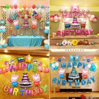 【支持礼品卡】宝宝周岁生日布置气球装饰用品卡通主题儿童派对百日宴会气球套餐4zp