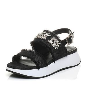 Tata/他她夏专柜同款牛皮拼接布水钻休闲坡跟女凉鞋T2030BL7