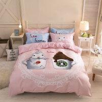 卡通可爱四件套公主风女床单人被套儿童床上用品大学生宿舍三件套