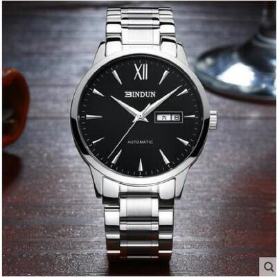全自动机械表男表防水商务休闲男士手表时尚双日历钢带手表 品质保证 售后无忧 支持货到付款